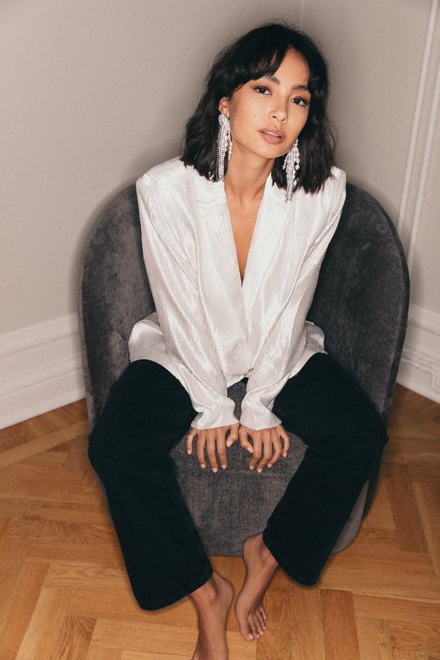 Offwhite Oversized Sequin Blazer
