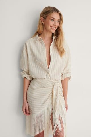 White Genanvendt Oversize Skjorte