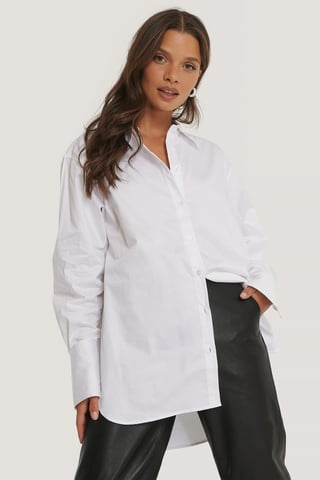 White Gerecycleerd Oversized Shirt