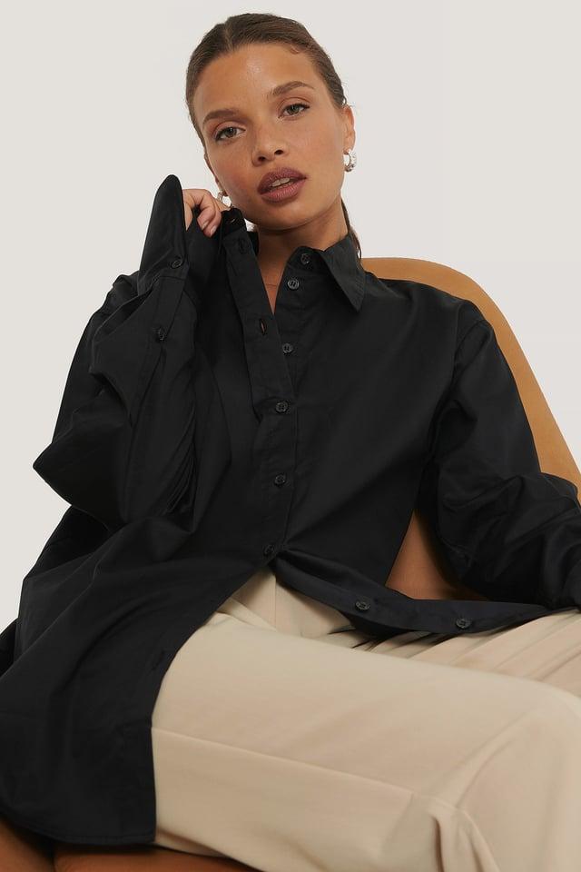 Recycled Oversize Skjorta Black
