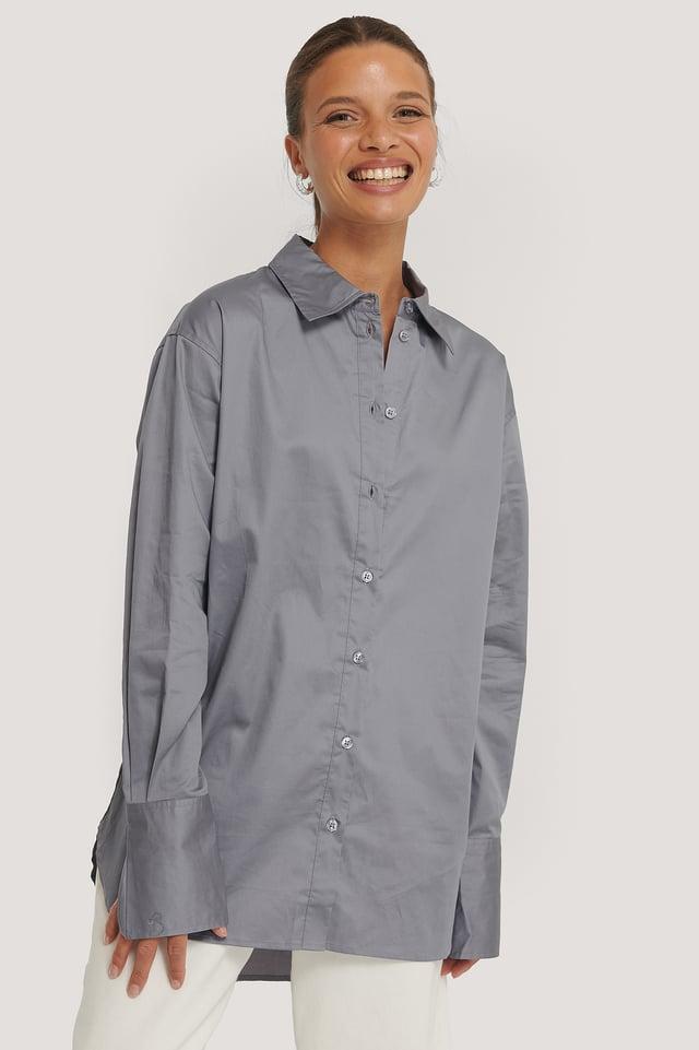 Recycled Oversize Skjorta Grey