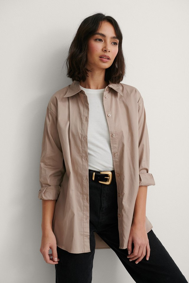 Taupe Recycled Oversize Skjorta