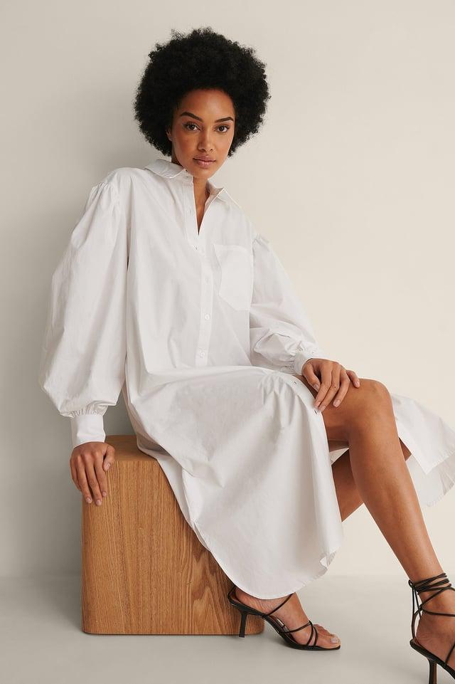 White Organic Oversized Shirt Dress