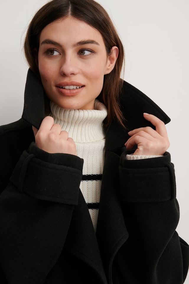 Black Oversized Short Coat