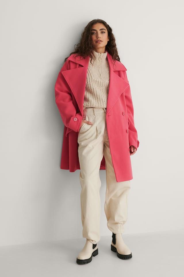 Fuchsia Oversized Short Coat