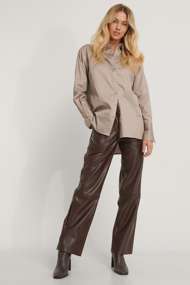 Recycled Oversize Skjorta Taupe