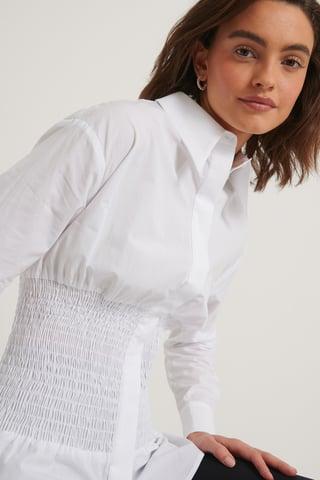 White Gerecycleerd Oversized Shirt