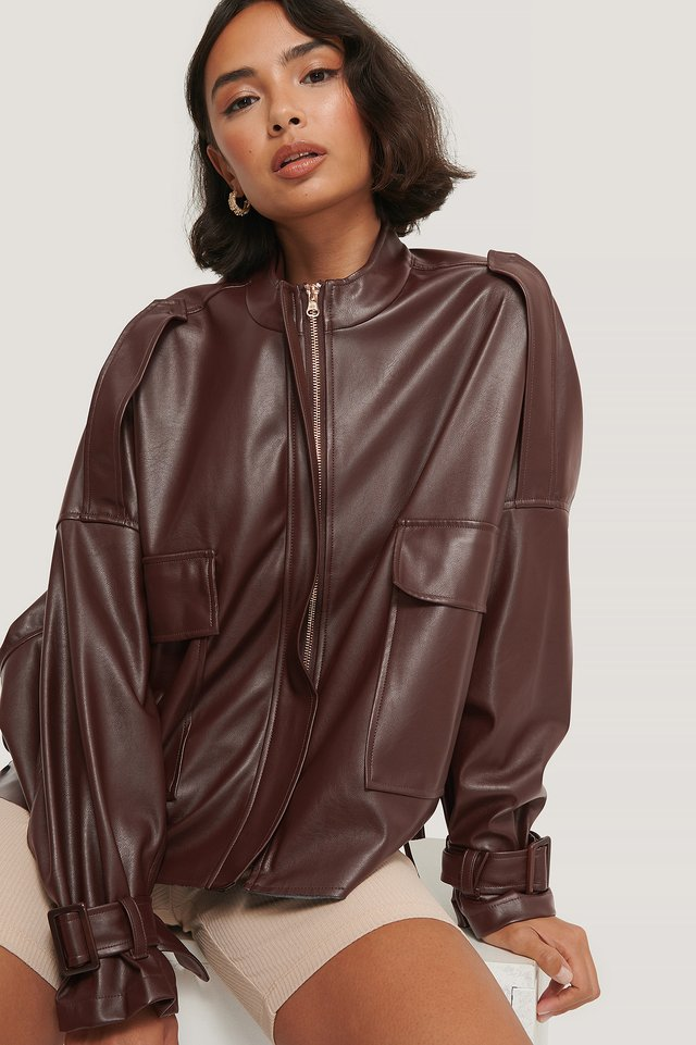 Oversized Soft PU Jacket Brown