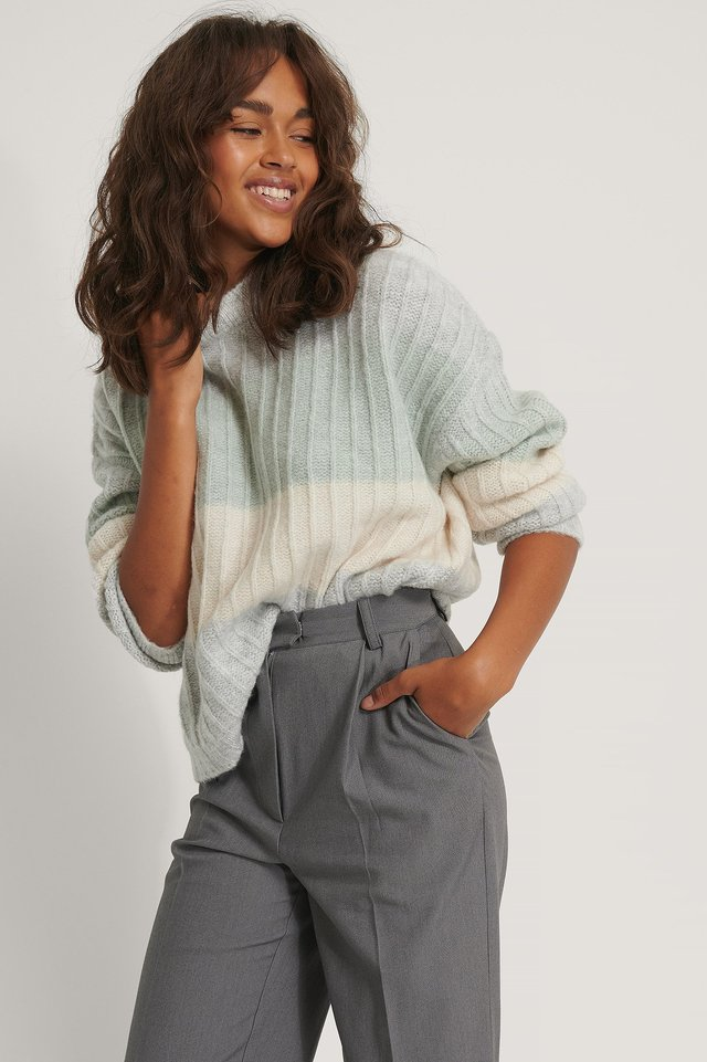 Oversized Striped Knitted Sweater Grey