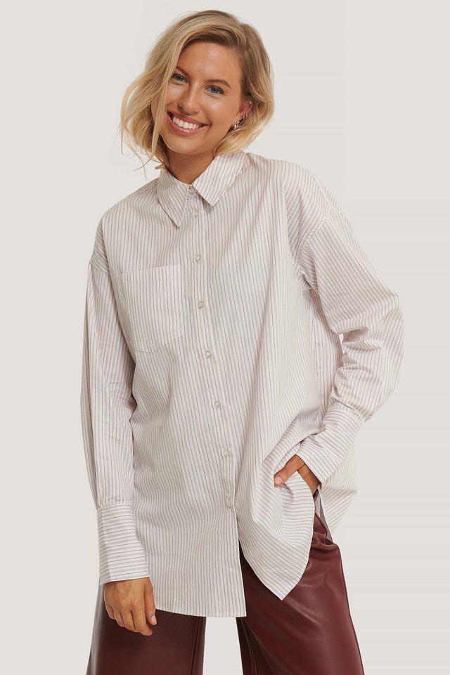 Oversized Striped Pocket Shirt Stripe