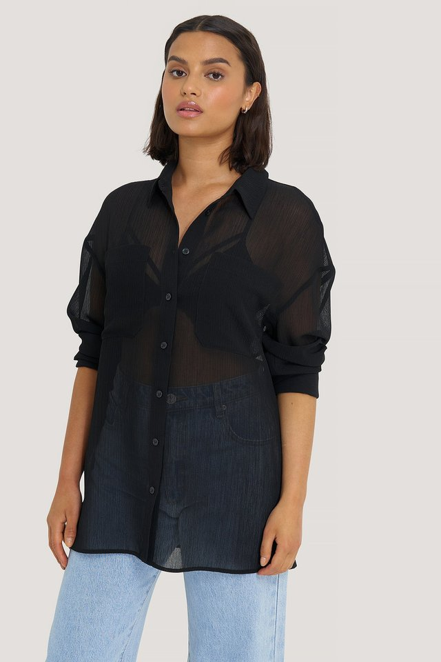 Black Oversized Structured Pocket Blouse