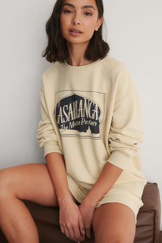 Beige - Casablanca Logo Oversized Sweater