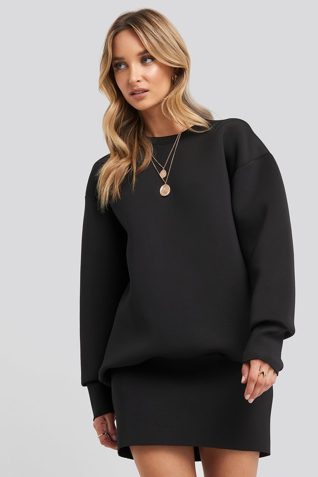 Oversized Sweatshirt Dress Black