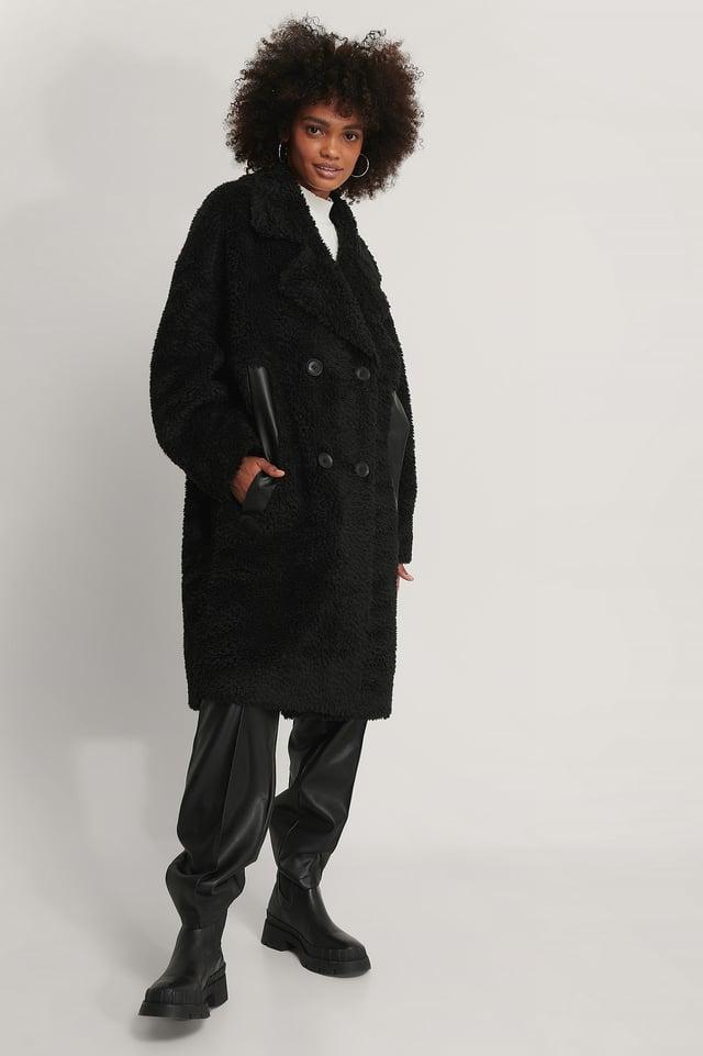 Oversized Teddy Pu Detail Coat Black