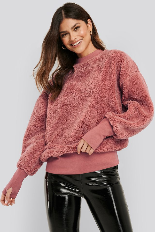 Oversized Teddy Sweatshirt Dark Pink