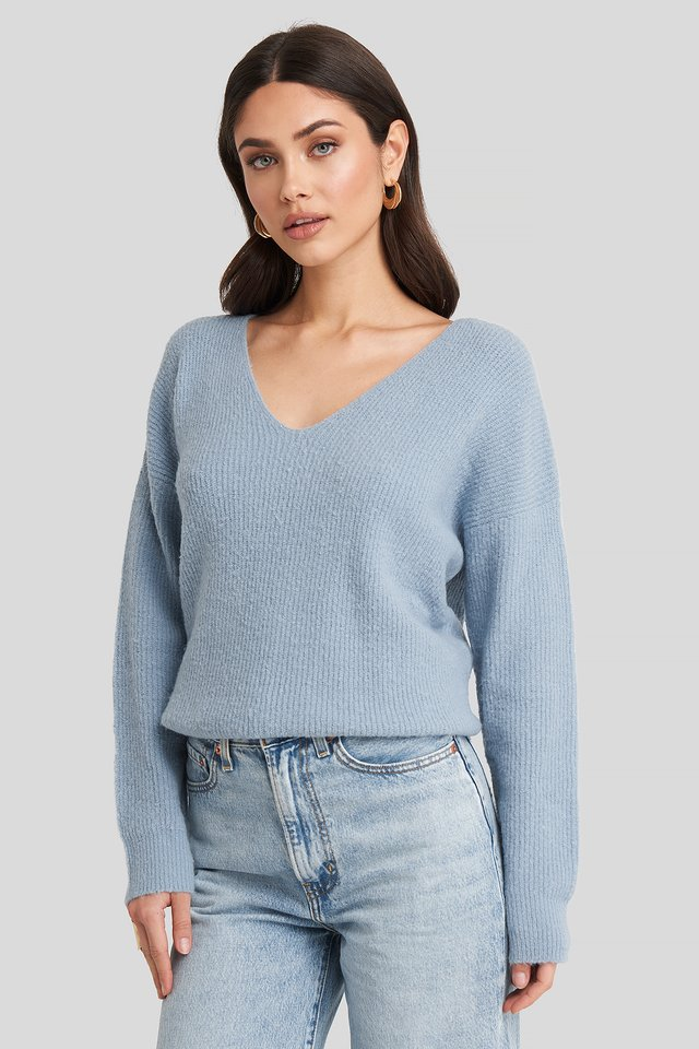 Oversized V Neck Knitted Sweater Dusty Blue