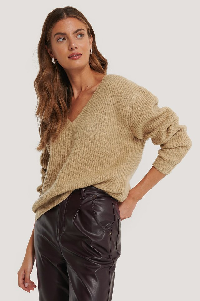 Beige Oversized V-neckline Sweater