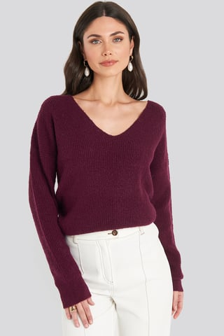 Bordeaux Oversized V Neck Knitted Sweater