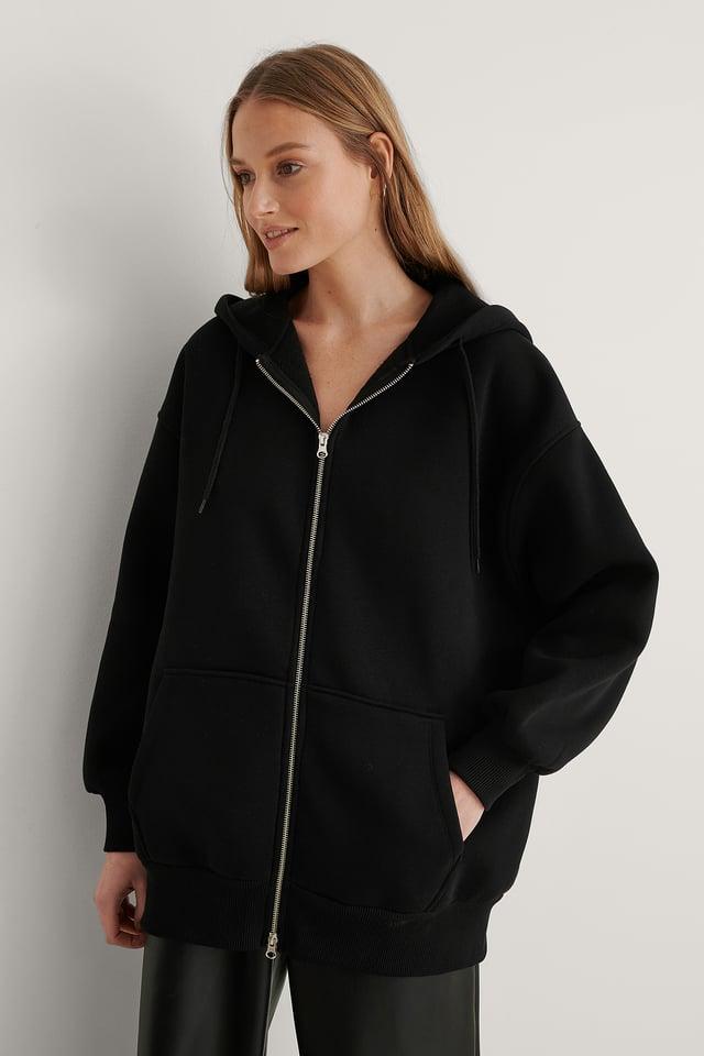 Black Oversized Zip Detail Hoodie