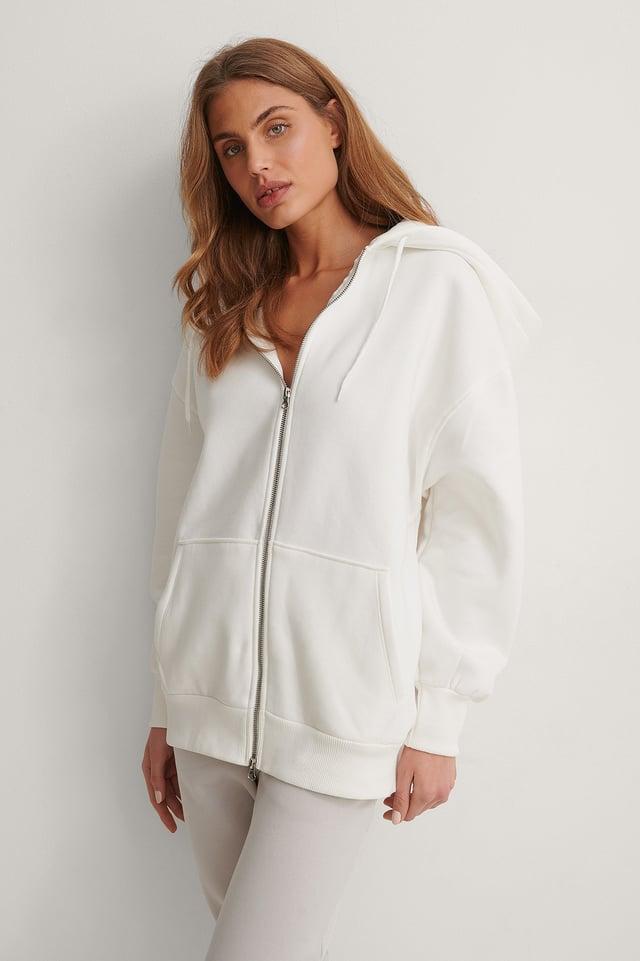 Offwhite Oversized Zip Detail Hoodie