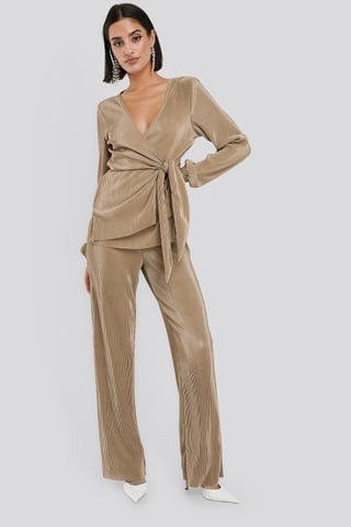 Sand Wide Pleated Trousers