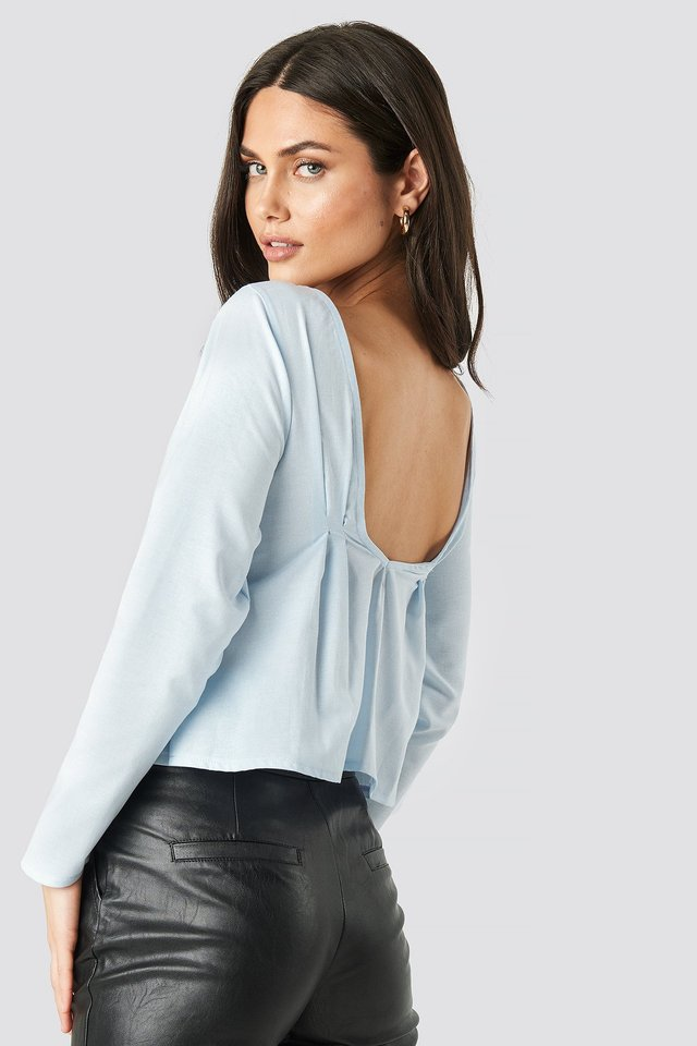 Oxford Long Sleeve Shirt With Open Back Blue