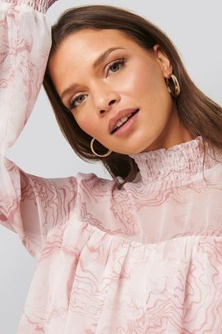 Pink Print Oyster Printed Smocked Blouse