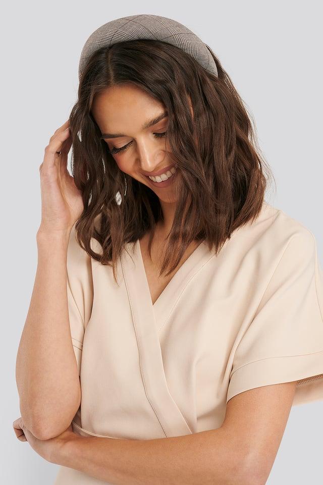 Padded Checked Hair Hoop Brown