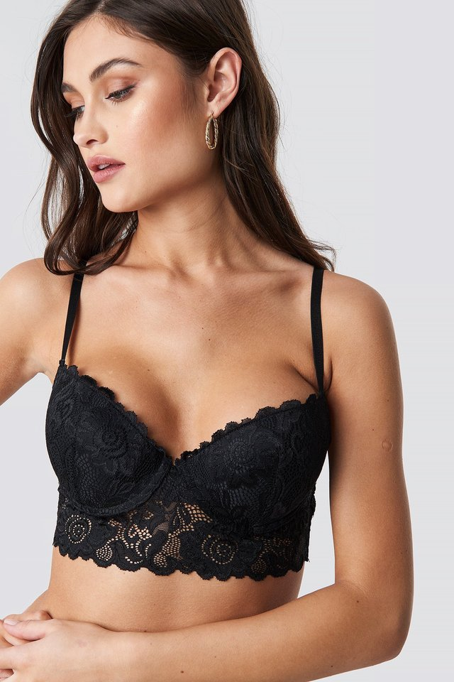 Padded Cup Lace Bralette Black