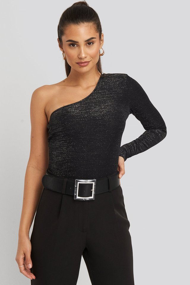 Padded Glittery One Shoulder Body Black