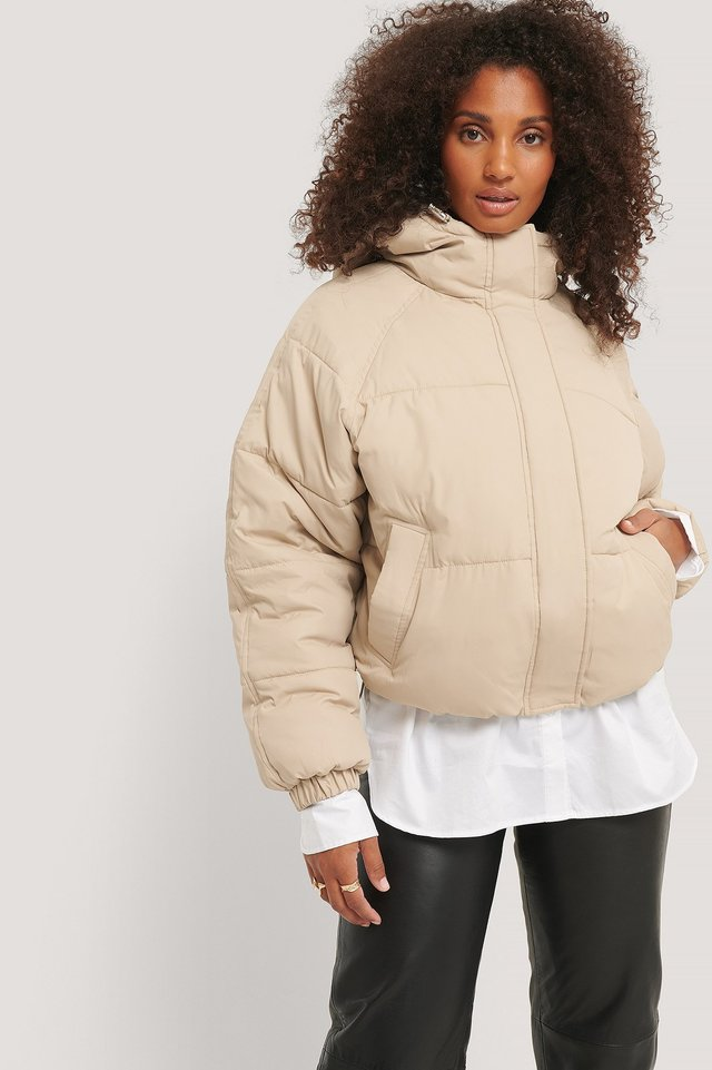 Beige Padded Hood Drawstring Jacket