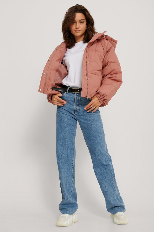 Padded Hood Drawstring Jacket Dusty Rose