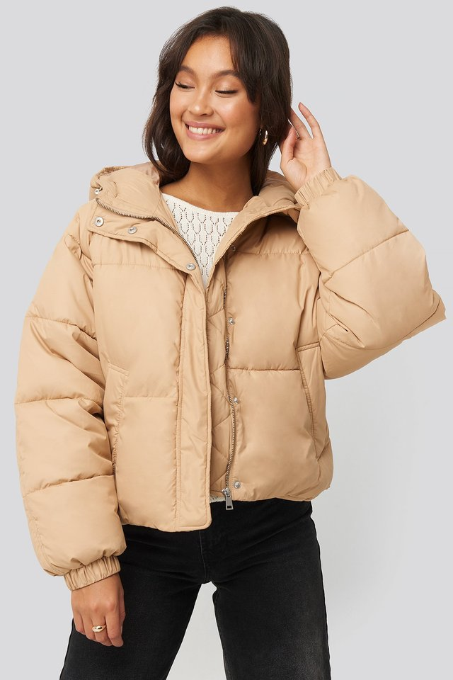 Padded Hood Short Jacket Beige