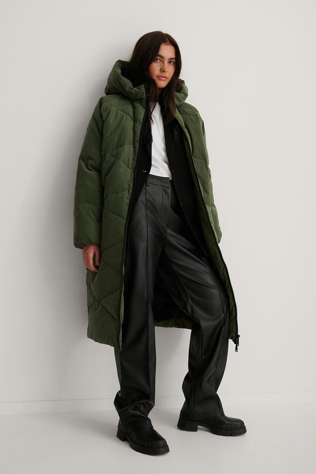 Green Hood Padded Long Jacket