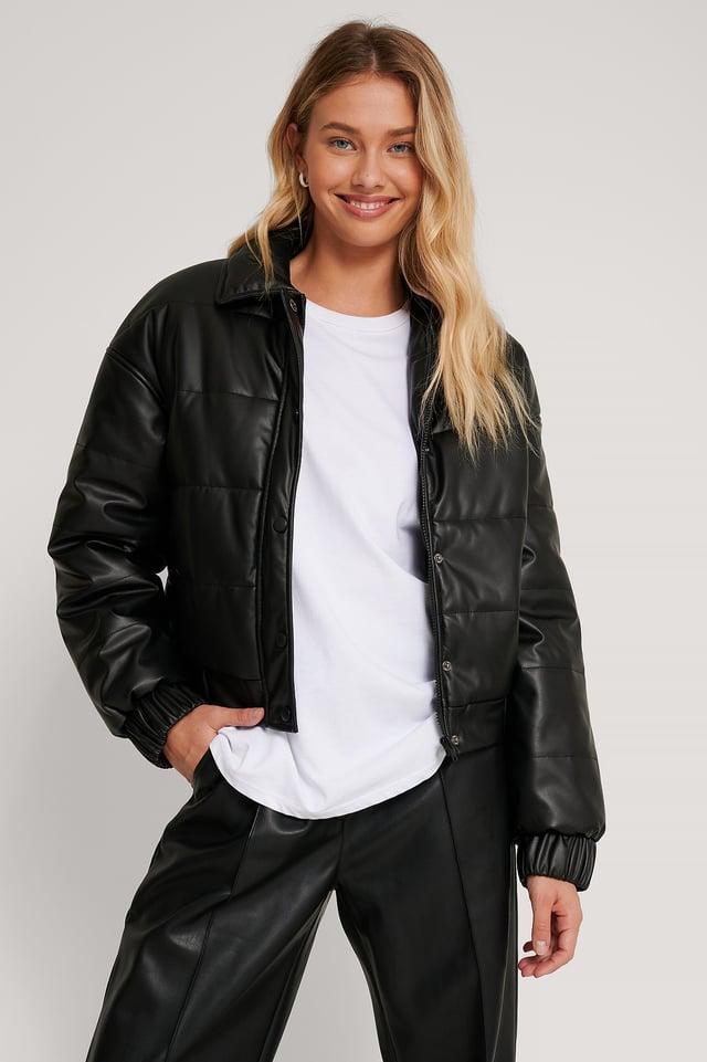 Black Padded PU Jacket