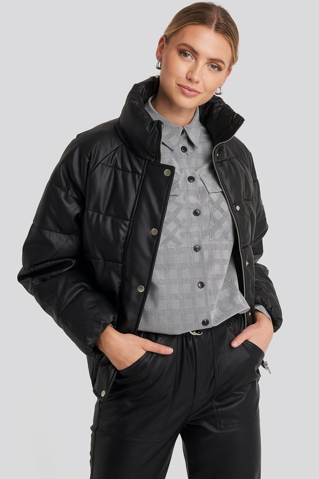 Padded PU Leather Jacket Black