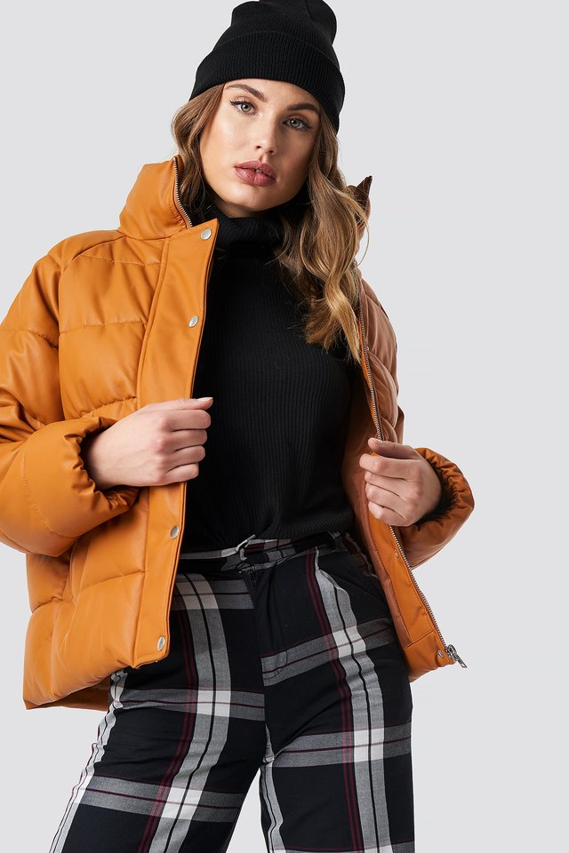 Padded PU Leather Jacket Cognac