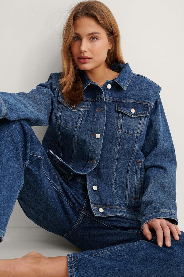 Blue Stone Wash Organic Padded Shoulder Denim Jacket