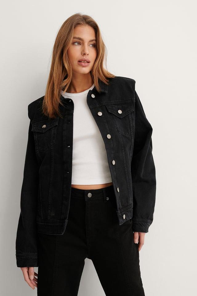 Black Stone Wash Organic Padded Shoulder Denim Jacket