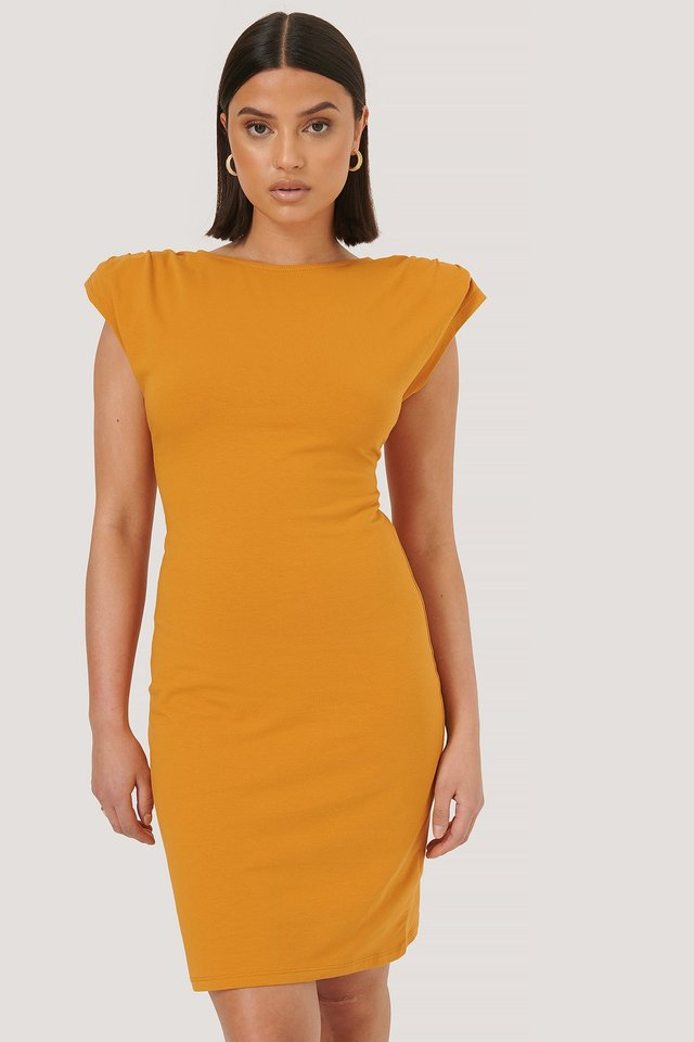 Padded Shoulder Dress Orange
