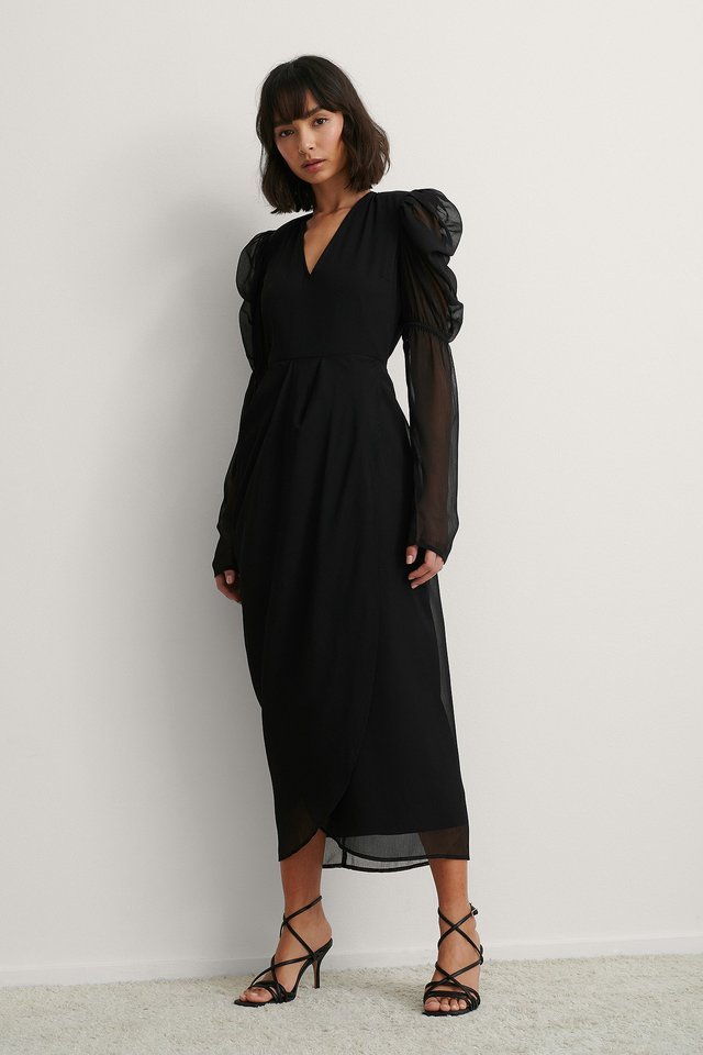 Black Padded Shoulder Gathered Dress