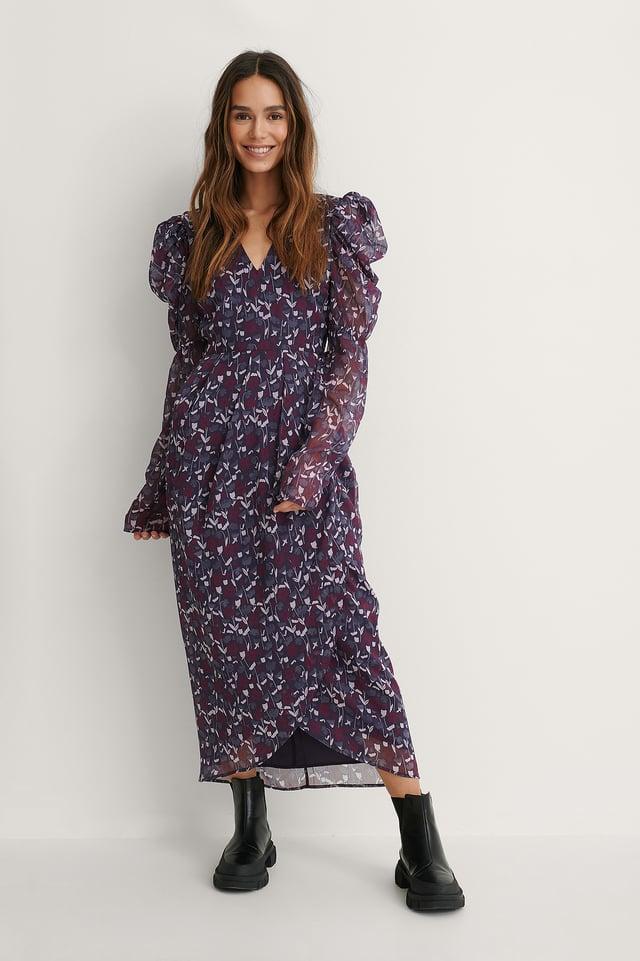 Kleid Mit Gepolsterten Schultern Purple