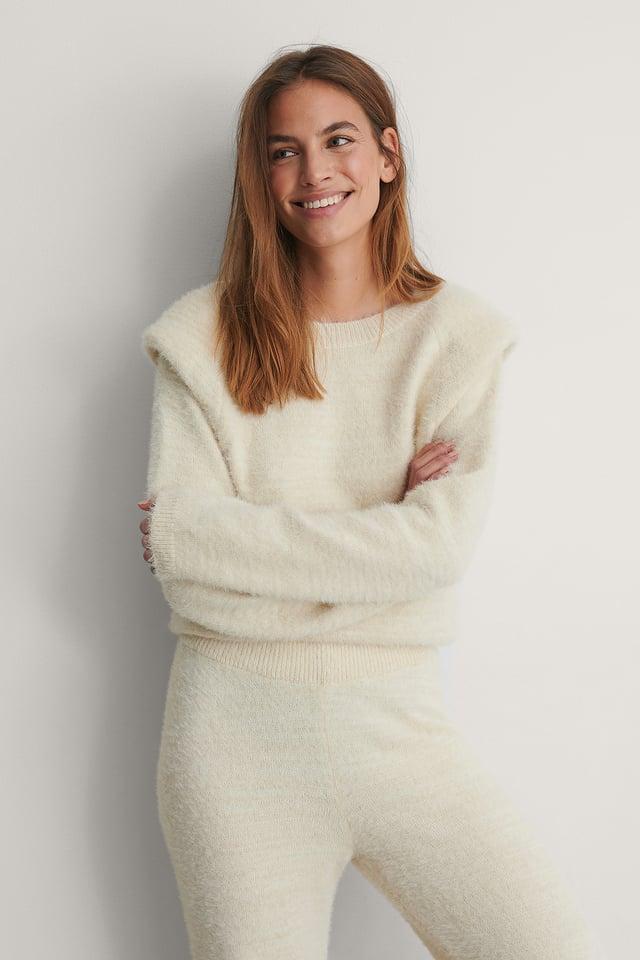 Cream Padded Shoulder Sweater