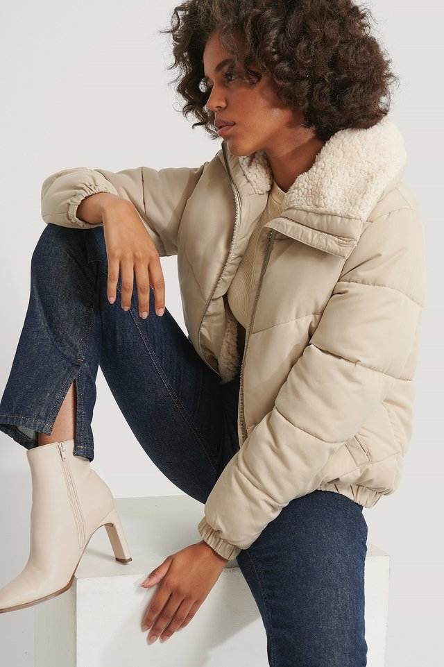 Padded Teddy Detail Jacket Beige
