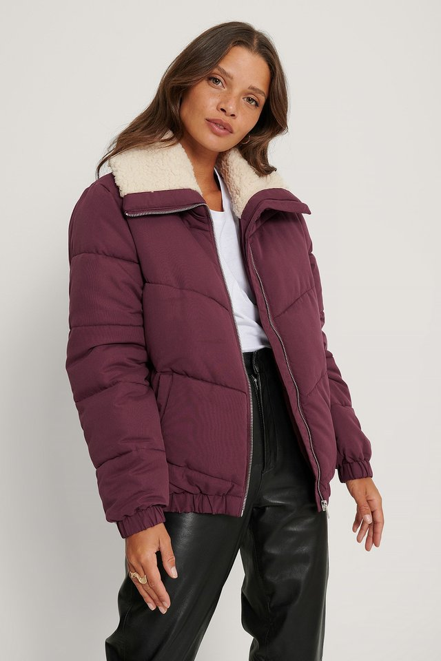 Padded Teddy Detail Jacket Burgundy