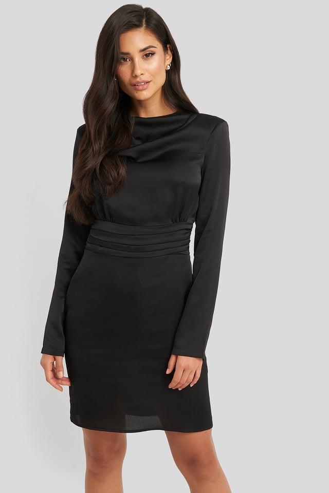 Padded Shoulder Overlap Mini Dress Black