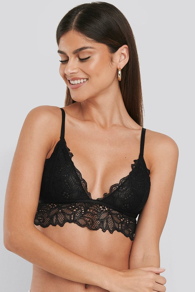Paisley Lace Bra Black