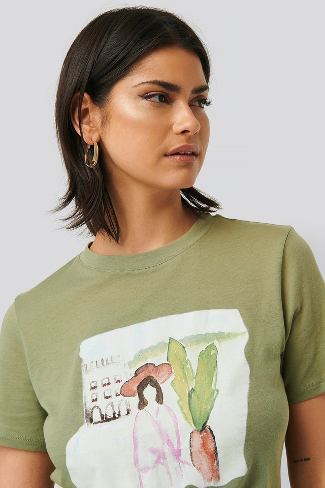 Palm Tree Watercolor Tee Khaki Green