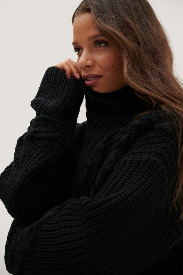 Reciclado Jersey En Punto Trenzado Oversized Black