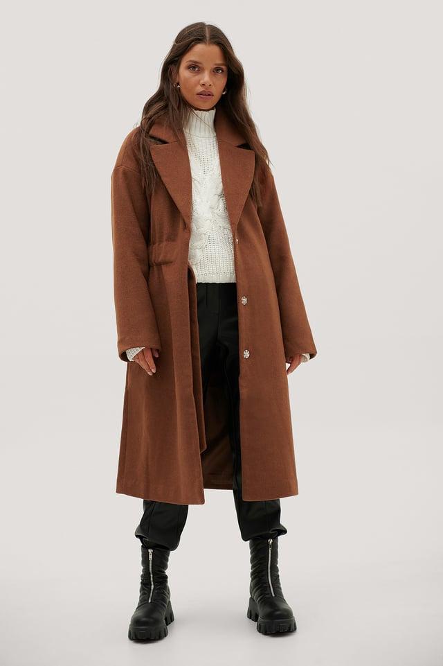 Ruched Wide Belt Wool Coat Rust